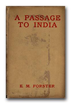 """에드워드 모건(E. M.) 포스터의 <인도로 가는 길> 초판 표지. 이 작품은 """"Weybridge, 1923""""라는 두 단어로 끝나는데, 이는 지은이가 유목적 수선스러움에 대한 경멸, 그리고 고향을 떠나지 못한 스스로에 대한 조소를 담은 고의적인 '생략'으로 볼 수 있다. 위키피디아"""