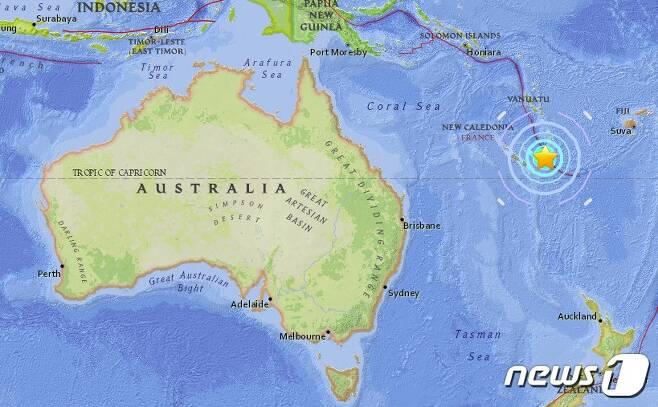 남태평양 뉴칼레도니아에서 규모 7.0 강진이 발생했다. (사진=USGS)© News1
