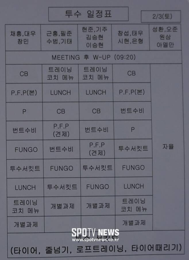 ▲ 2월 3일 삼성 투수 훈련 일정. ⓒ 오키나와(일본), 박성윤 기자
