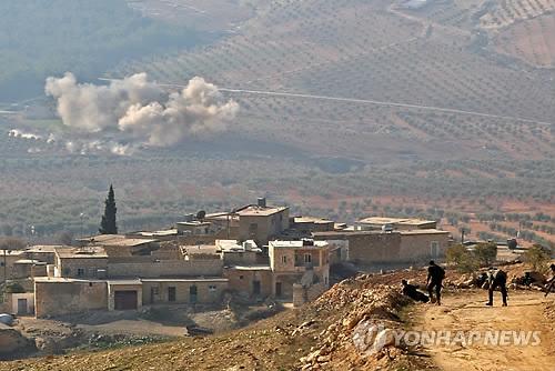 터키군 공격받는 시리아 쿠르드 민병대 점령지[AFP=연합뉴스 자료사진]