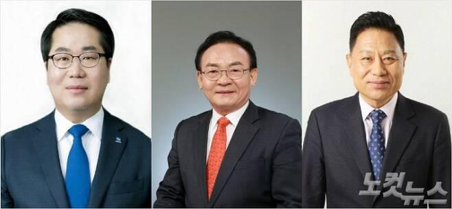 왼쪽부터 오세현 더불어민주당 후보, 이상욱 자유한국당 후보, 유기준 바른미래당 후보.