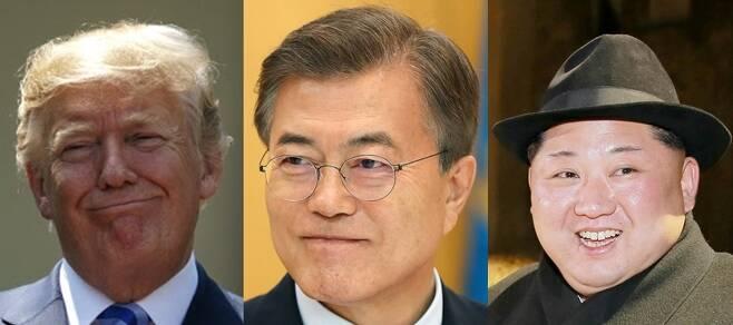 남북미 정상, 싱가포르에서 종전선언 할까. - 청와대가 문재인(가운데) 대통령의 싱가포르 방문 가능성에 대비해 현지에 행정관급 직원을 파견한 것으로 파악됐다. 김정은(오른쪽) 북한 국무위원장과 도널드 트럼프 미국 대통령의 북미정상회담이 다음달 12일에 싱가포르에서 열리는 만큼, 남북미 정상의 3자 회담 또는 종전선언이 이뤄질 수 있다는 관측이 나온다. 2018.5.30 연합뉴스