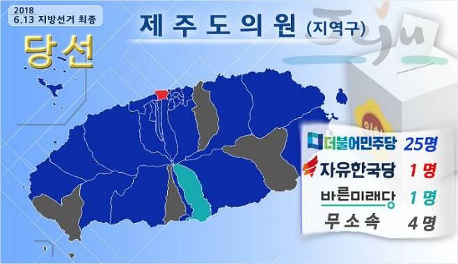 제주도의원 선거에서 민주당이 싹쓸이하며 대부분 지역을 파란색으로 물들였다. (그래픽=제주CBS)
