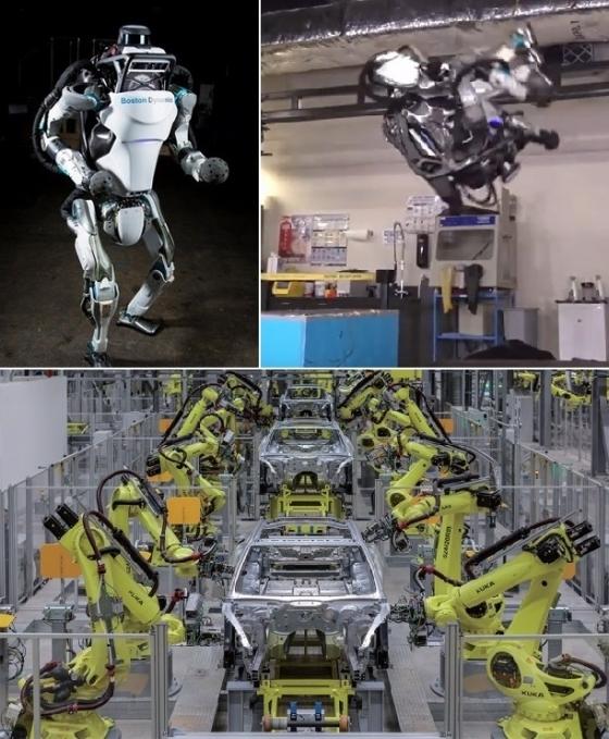 (위쪽 사진)일본 소프트뱅크가 구글로부터 인수한 보스턴다이나믹스가 개발한 인간형 로봇 '아틀라스'. 이족보행과 점프는 물론, 공중제비(백덤블링·오른쪽 사진)에 성공해 세상을 놀래켰다. 제원은 신장 150㎝, 무게 75㎏. /유튜브 동영상 캡쳐(아래쪽 사진)포르쉐의 생산거점인 독일 라이프치히 공장에선 대부분의 공정을 조립로봇이 담당한다 조립로봇을 만든 독일의 100년 로봇제조사 '쿠카'는 지난해 중국 가전업체 메이디그룹에 인수됐다. /사진제공=포르쉐