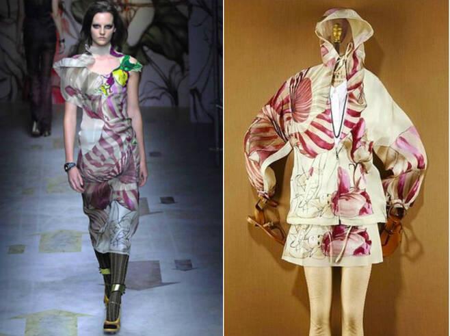 2008년 봄·여름 시즌 패션쇼에서 선보인 의상에 붉은 색 욱일기 문양이 새겨져있다(왼쪽) 2014년 가을·겨울 컬렉션에도 욱일기 문양이 새겨진 의상을 선보였다(오른쪽) © News1