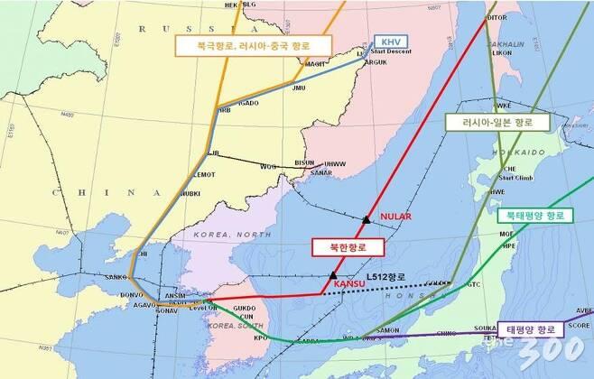 북한 비행정보구역 주변 항로 지도 /사진=송영길 의원실 제공