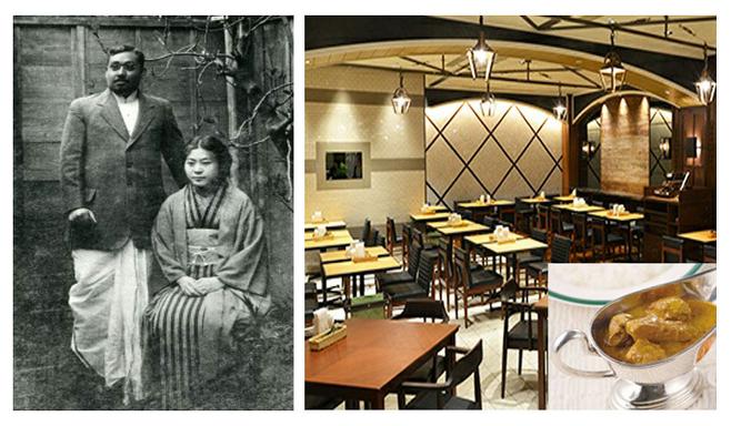 비하리 보세와 부인 토시코. 오른쪽은 도쿄 나카무라야 식당과 순 인도식 카레 ⓒ 이원혁제공