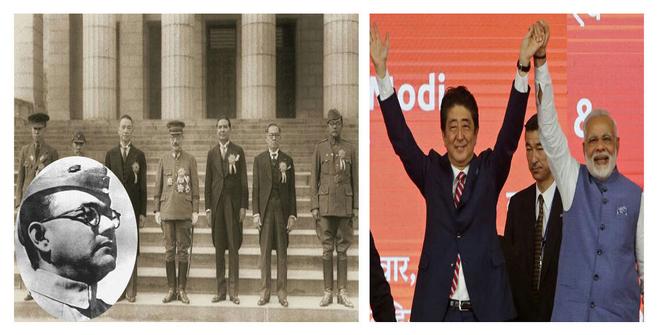 대동아회의에 참석한 찬드라 보세(왼쪽 사진의 오른쪽 끝)와 일본의 아베 총리, 인도의 모디 총리가 손잡고 인사하는 모습 ⓒ 이원혁제공·연합뉴스