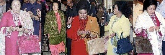 말레이시아의 고발 블로그에 올라온 나집 라작 전 총리의 부인 로스마 만소르의 모습. 수천만원대를 호가하는 에르메스 버킨백을 색깔별로 들고 있다.