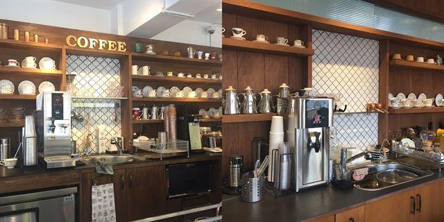 김권씨가 운영하는 서울 송파구의 한 카페(오른쪽 사진)와 실내장식을 도용한 카페. 김권씨 제공