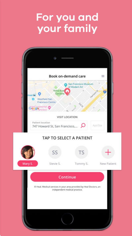 미국의 왕진 서비스 회사 heal.com의 스마트폰 애플리케이션