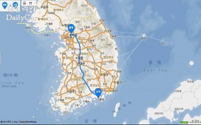 CT6의 연비 측정이 진행된 주행 구간 (네이버 지도 갈무리)