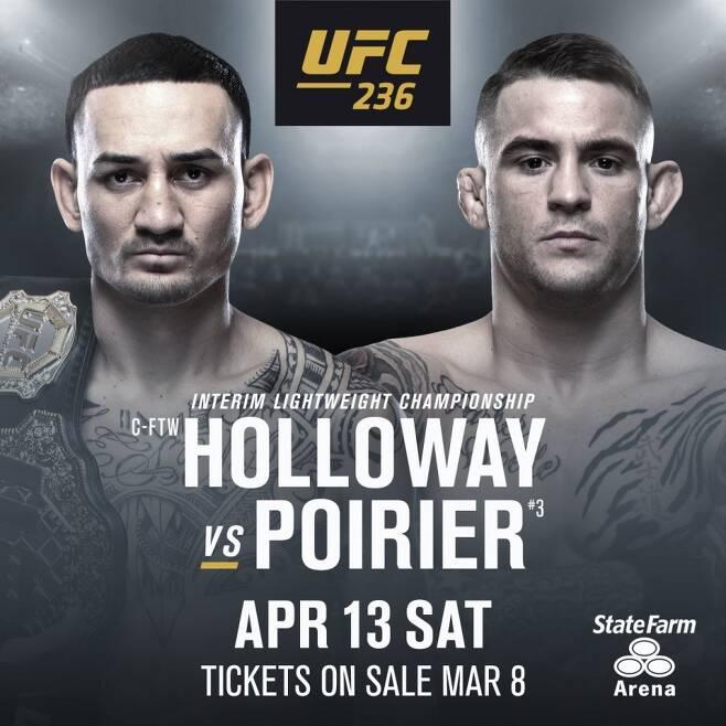 ▲ 맥스 할로웨이와 더스틴 포이리에가 UFC 라이트급 잠정 타이틀전을 펼친다. 7년 2개월 만에 갖는 재대결. 첫 만남에선 포이리에가 암바로 이겼다.