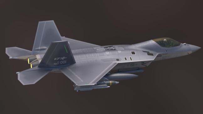 사진은 한국형 전투기(KF-X) 상부 측면 기본설계 형상 모습. 방위사업청 제공