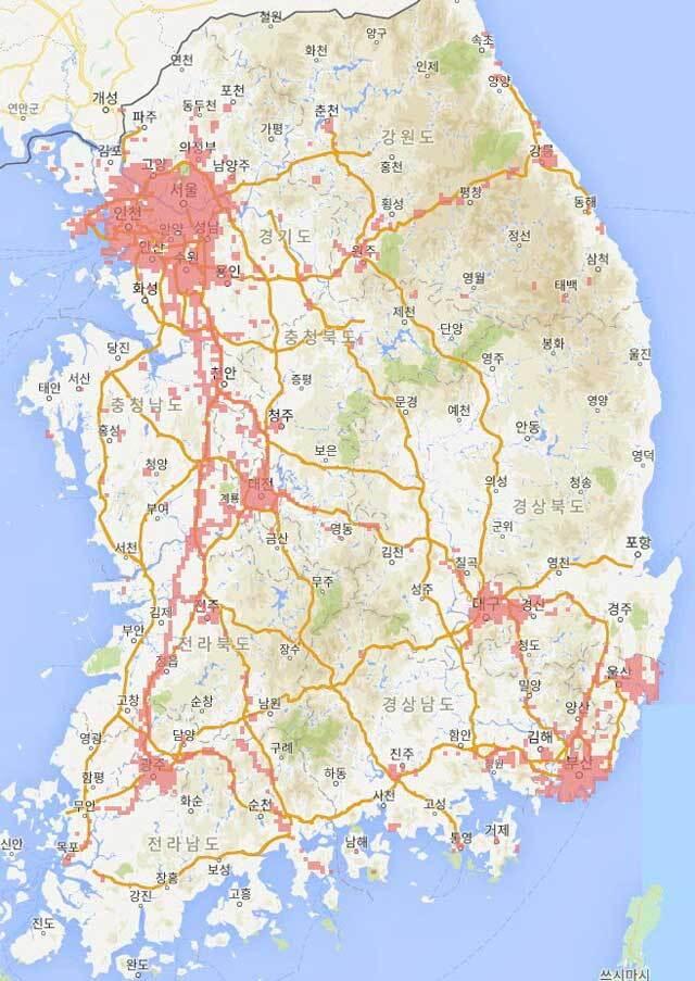KT가 공개한 5G 서비스 지역, 출처: KT