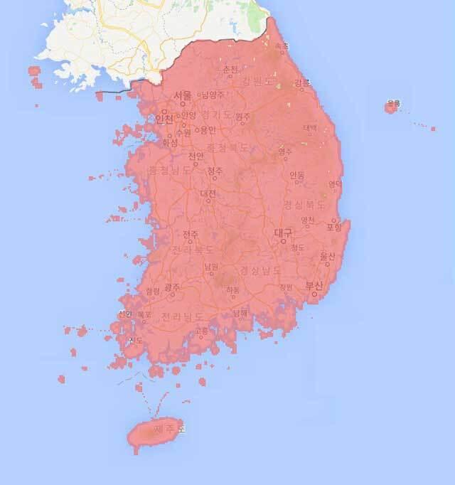 KT LTE 서비스 지역, 출처: KT