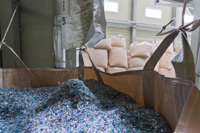 재활용 처리업체로 들어온 페트병들은 잘게 썰려 세척과정을 거친다. ⓒ시사저널 최준필