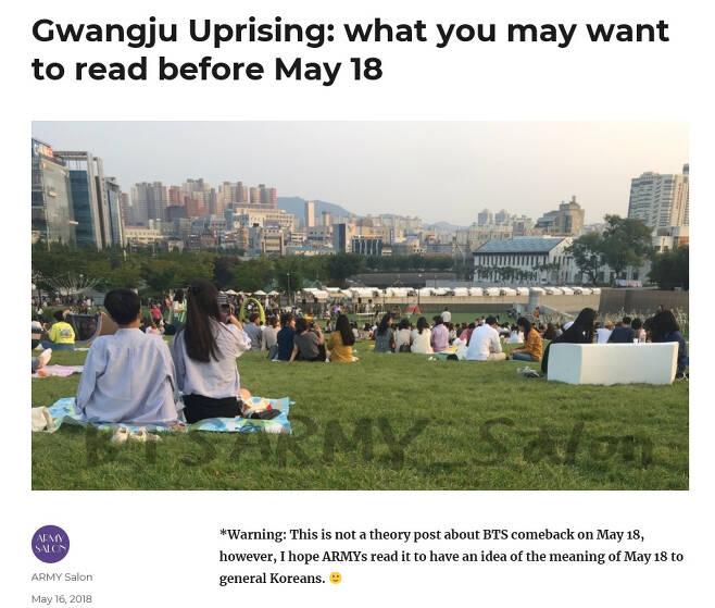 방탄소년단의 노래 가사나 관련 기사·글 등을 영어로 번역해서 알려주는 트위터리안 '아미살롱'(@BTSARMY_Salon)이 지난해 5월 자신의 블로그에 올린 5·18민주화운동 소개글 갈무리.