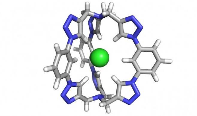 연구팀이 개발한 분자구조의 모습. 구체(염화 이온)를 가운데 빈 공간에 잡아둔다. 윤 리우 제공