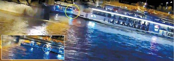 헝가리 부다페스트 다뉴브 강에서 29일(현지시간) 한국인 33명 이 탄 유람선 허블레아니호(왼쪽)가 침몰 했다. 큰 사진은 허블레아니호가 바이킹 시긴호(오른쪽)에 들이받혀 침몰하기 직전의 장면 . 작은 사진은 추돌 바로 전 장면 . 이후 시긴호는 45분간 더 운행한 것으로 확인됐다. [헝가리 경찰청 유튜브 캡처]