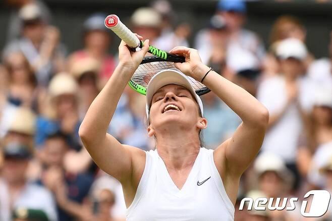 처음으로 윔블던 테니스 결승에 오른 시모나 할렙. © AFP=뉴스1