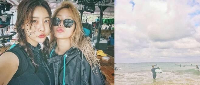 ▲ 서핑을 즐기는 근황을 공개한 소유(오른쪽)와 소진. 출처l소유 SNS