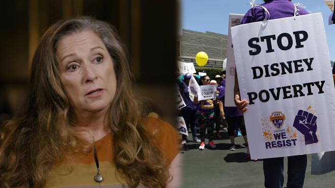 디즈니 가문 상속녀 애비게일 디즈니(왼쪽), 지난해 7월 3일 디즈니랜드 입구에서 벌어진 임금인상 요구 시위 당시 모습.(사진=ABC뉴스 방송 캡처)