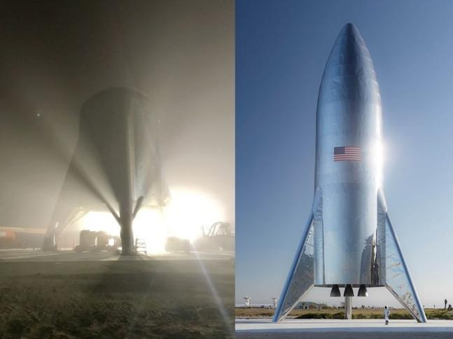 테스트 중인 스타호퍼의 모습(사진 좌측)과 스타호퍼의 전체 사진