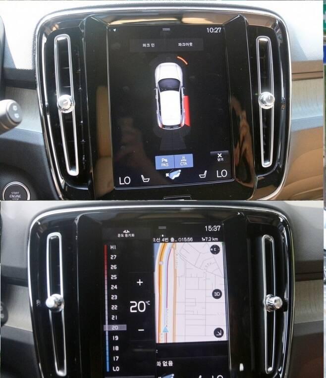 대형 모니터를 통해 (위부터)차량 주변의 위험 요소를 선제적으로 알리고, 온도 조절 등 각종 차량 조작이 가능하다. 사진=글로벌이코노믹 정수남 기자