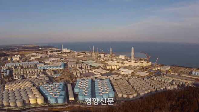 후쿠시마 원전에 설치된 방사능 오염수 저장탱크들이 포화상태에 가까워졌다.   일본 시민단체 세이프캐스트 제공