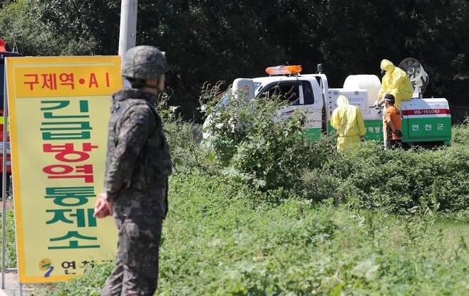 지난 18일 오후 경기도 연천군의 한 양돈농가에서 아프리카돼지열병(ASF)이 발생해 방역당국이 출입을 통제하고 있다. 연천/신소영 기자 viator@hani.co.kr