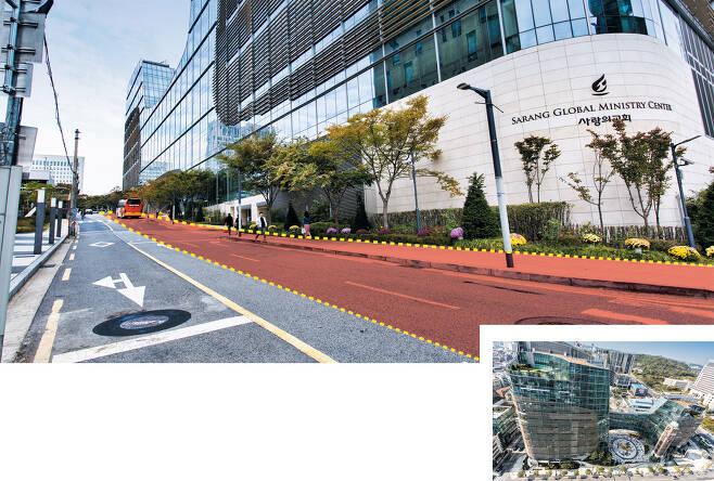 서울 서초동에 있는 사랑의교회(작은 사진)는 교회 건물 뒤편과 맞닿은 서초대로 40길 도로 일부(큰 사진 빨간색 부분)에 대한 점용 허가를 받은 뒤 그 지하 공간을 활용해 세계에서 가장 큰 지하 예배당을 지었다. 하지만 이번 대법원 판결로 점용 허가가 무효가 되면서 400억원을 들여 예배당을 허물고 원상 복구해야 할 처지가 됐다. / 이신영 영상미디어 기자