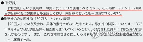 """(도쿄=연합뉴스) 일본 외무성이 펴낸 2019년 외교청서의 일본군 위안부 문제에 관한 코너에 """"'성노예'라는 표현은 사실에 반하므로 사용해서는 안 된다. 이런 점은 2015년 12월 일한 합의 때 한국 측도 확인했으며 동 합의에서도 일절 사용되지 않았다""""고 기록(붉은 밑줄)돼 있다. 2019.11.11 [일본 외무성 제공 외교청서 캡처, 재판매 및 DB 금지]"""