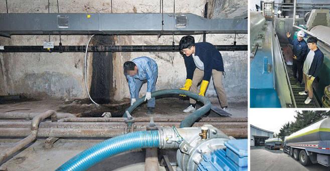 지난 12일 서울 서대문구 서부프라자 지하 3층에서 본지 기자(왼쪽 사진 오른쪽)가 차량에 연결된 호스를 정화조에 넣고 있다. 분뇨를 담은 차량은 경기 고양시 난지물재생센터로 향한다(오른쪽 아래 사진). 모인 분뇨는 화학처리를 해 정수(淨水)로 거듭난다. /한준호 영상미디어 기자