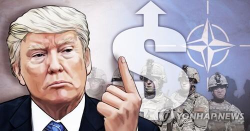 """트럼프, 나토 동맹 겨냥 """"방위비 안내면 '무역'으로 걸 것"""" 엄포 (PG) [정연주 제작] 일러스트"""