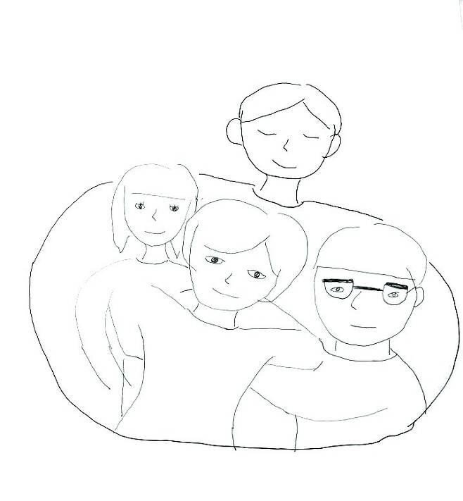 """""""서로를 감싸 안은 우리 가족 모습이에요. 저와 동생, 엄마도 아빠를 인정해주고 아빠도 우리를 인정해주고 수고했다며 서로를 위로해주는 모습이죠. 돌아가신 아버지는 까만색으로 그렸어요."""" -이영미씨 딸 그림. 이영미 제공"""