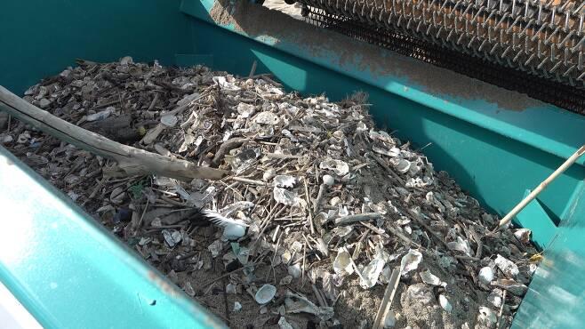비치클리너로 해안 널브러진 쓰레기를 치우고 있다. 쓰레기가 비치클리너에 잔뜩 모였다. [사진 공성룡]