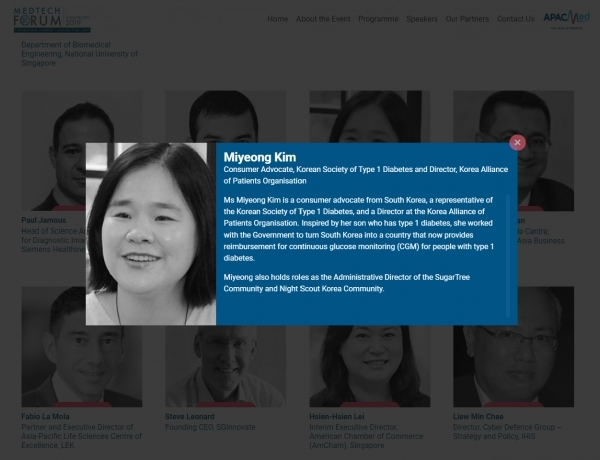 아시아·태평양 의료기기 콘퍼런스 메드테크 포럼에서 연사로 소개된 김미영 대표. ⓒMedTech Forum 2019