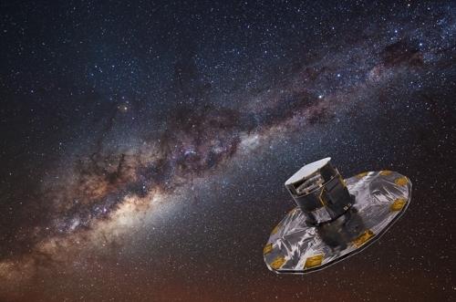 가이아 위성 상상도 [ESA/ATG 미디어랩, ESO/S.브루니어 제공]