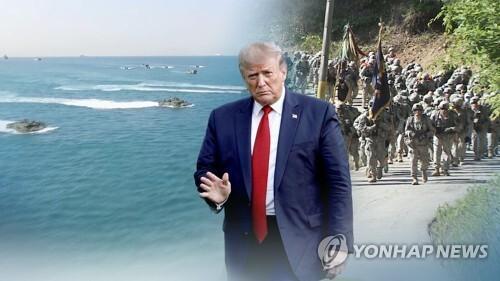 """트럼프 """"부자나라 방어에 엄청난 돈"""" 또 언급 (CG) [연합뉴스TV 제공]"""