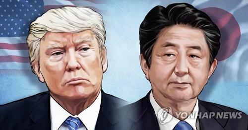미국 트럼프 대통령 - 일본 아베 총리 (PG) [장현경 제작] 일러스트