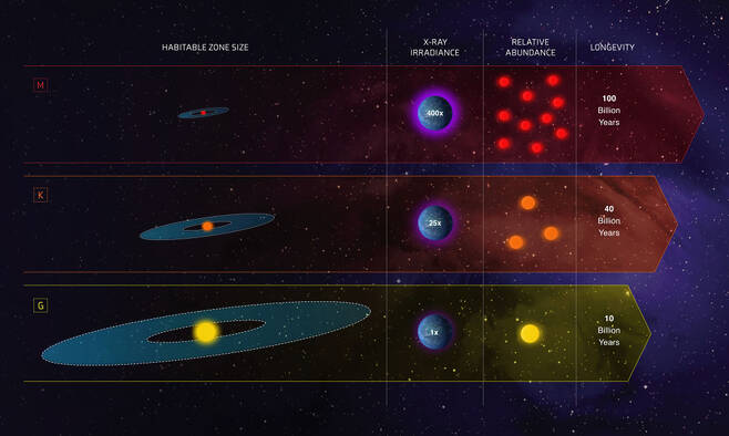 '골디락스 존'을 가진 각 유형의 별들. 방사선 조사량과  전체 별들에서 차지하는 비율, 별의 수명들이 표시되어 있다. (출처: NASA ESA, Z. Levy (STScI)