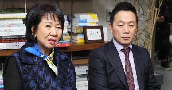열린민주당 손혜원 의원(왼쪽)과 정봉주 최고위원. [연합뉴스]