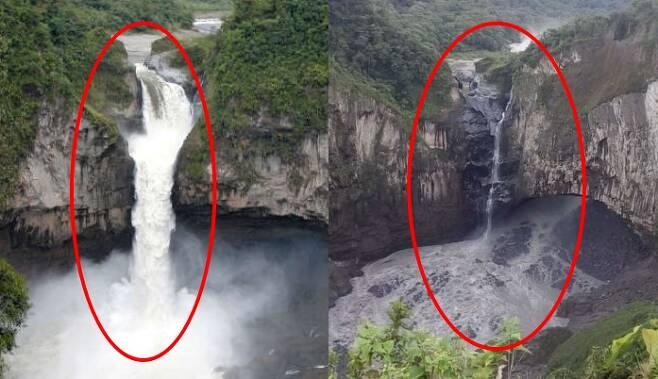 거대한 싱크홀이 발생한 뒤 폭포수가 사라져 버린 에콰도르 최대 폭포