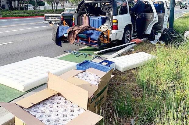 캘리포니아주에서는 화장지 도둑으로 의심되는 운전자가 체포됐다. /사진=베버리힐스 경찰국