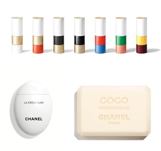 에르메스 뷰티 립스틱 8만8000원(윗쪽) 샤넬 핸드크림 8만원(왼쪽 아래) 샤넬 비누 4만원(오른쪽 아래). 립스틱이나 핸드크림의 일반적인 가격을 생각하면 비싼 가격이지만 명품백이나 수입차보다 훨씬 저렴한 가격으로 명품을 소유할 수 있다는 점에서 소비자들에게 사랑받는 '스몰럭셔리' 제품군이다.