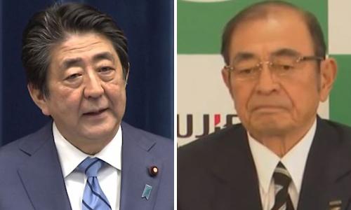 아베 일본 총리(왼쪽), 고모리 시게타카 후지필름홀딩스 회장.