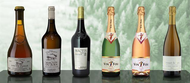 쥐라 지역의 독특한 와인들. 왼쪽부터 뱅 드 파이유(Vin de Paille), 막뱅 뒤 쥐라(화이트와 레드), 뱅 푸(화이트와 로제), 크레망 뒤 쥐라(Cremant du Jura). 각 와이너리 홈페이지 캡처