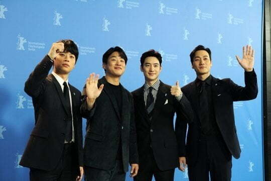 영화 '사냥의 시간'의 배우 박정민(왼쪽부터), 안재홍, 이제훈, 박해수가 2월 22일(현지시간) 열린 베를린국제영화제에 참석했다. / 사진제공=리틀빅픽처스