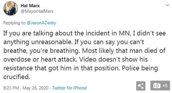 미국 미시시피주 페탈시장인 할 막스가 자신의 트위터에 올린 글. 트위터 캡처